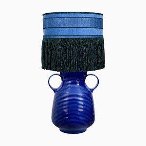 Grande Lampe de Bureau en Céramique avec Abat-Jour en Soie, 1960s