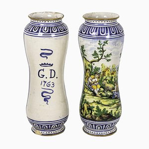 Large 19th Century Polychrome Earthenware Vases, Set of 2