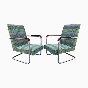 Cantilever Tubular Steel Model FN22 Armchairs by Mücke & Melder, 1930s, Set of 2