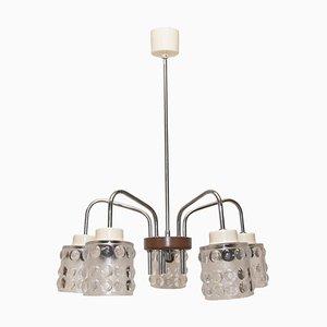Mid-Century Hängelampe mit Lampenschirmen aus Geschliffenem Glas von Lidokov, 1960er