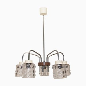 Mid-Century Pendant Lamp with Cut Glass Lampshades from Lidokov, 1960s