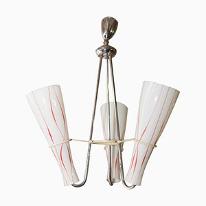 Mid-Century Chandelier with 3 Opaline Glass Lampshades, 1960s