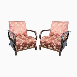 Art Deco Adjustable Beech and Walnut Armchairs, 1930s, Set of 2