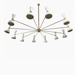 Enorme Chandelier Vintage à Vingt-Quatre Ampoules, Italie