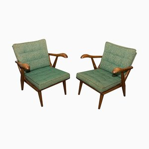 Mid-Century Oak Armchairs, Czechoslovakia, 1950s, Set of 2