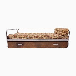 Functionalist Chromed Sofa Bed from Kovona, Czechoslovakia, 1950s