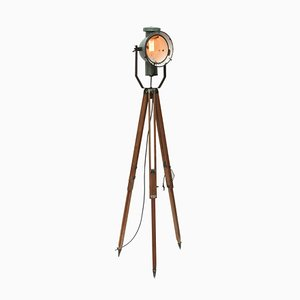 Vintage Industrial Petrol Enamel and Wooden Tripod Spotlight Floor Lamp