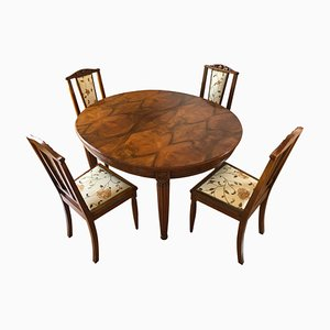 Art Nouveau French Dining Table & Chairs Set, 1920s