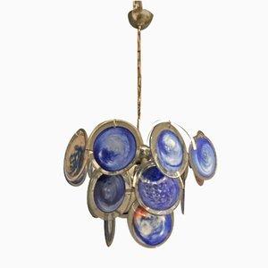 Lámpara de araña era espacial de cristal de Murano azul de Gino Vistosi, años 70