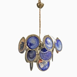 Space Age Blue Murano Glass Disc Chandelier by Gino Vistosi, 1970s