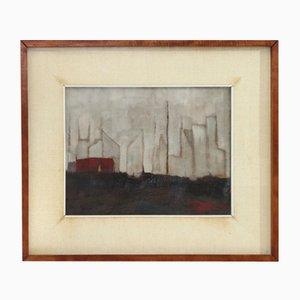 Pintura al óleo The Pole de Gianni Castagneto, años 50