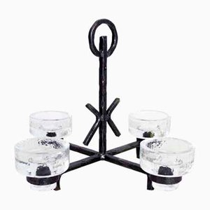 Art Deco Wrought Iron and Glass Candleholder by Erik Höglund for Bostrom, 1960s