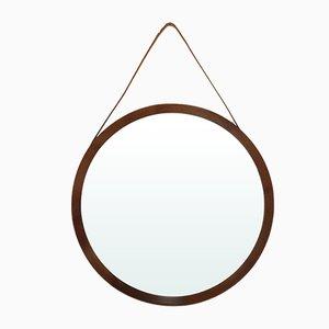 Espejo redondo de madera, años 50