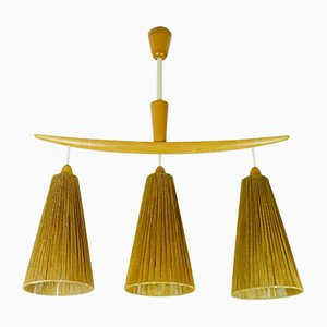 Mid-Century Cherrywood and Cord Wicker Ceiling Lamp from Temde, 1960s