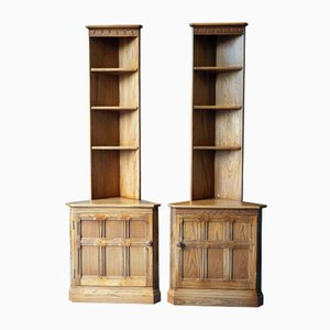 Mid-Century Golden Elm Corner Cabinets from Ercol, 1980s, Set of 2
