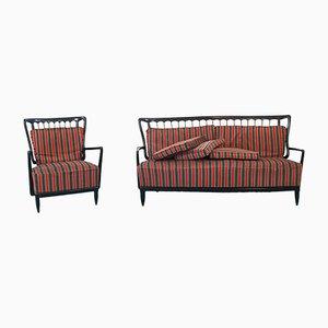 Poltrona e divano vintage in legno, anni '50
