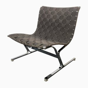 Italian Chromed Metal and Black Fabric Model Luar Club Chair by Ross Littell for ICF De Padova, 1960s
