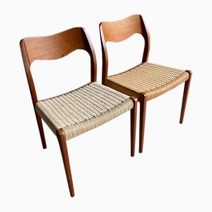 Teak and Paper Cord Model 71 Dining Chairs from J.L. Møllers, 1960s, Set of 10