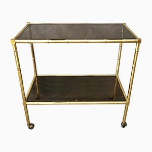 Mid-Century Italian Faux Bamboo Brass and Smoked Glass Trolley, 1970s