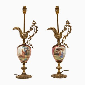 Antique French Porcelain Table Lamps, 1930s, Set of 2