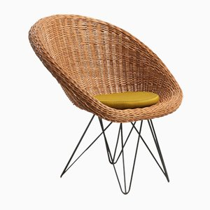 Mid-Century Dutch Basket Lounge Chair with Metal Legs by Teun Velthuizen for Urotan, 1950s