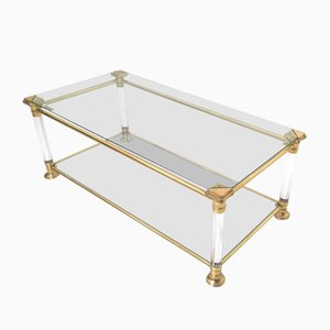 Italian Rectangular Glass, Brass, and Plexiglass Coffee Table, 1980s