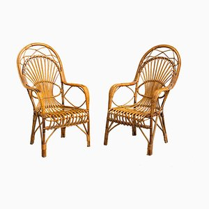 Vintage Wicker Garden Armchairs, 1960s, Set of 2