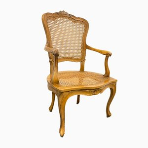 Carved Wood and Wicker Chippendale Armchair, 1950s