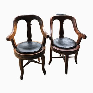 Antique Barbers Swivel Armchairs, 1900s, Set of 2