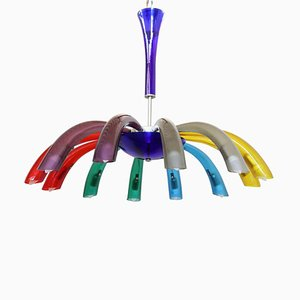 Italian Colored Murano Glass Chandelier, 1980s