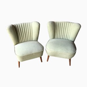 Hungarian Wasabi Color Club Chairs, 1950s, Set of 2