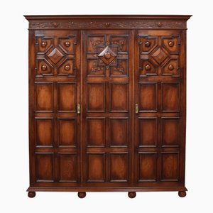 Antique Jacobean Style Carved Oak 3-Door Wardrobe