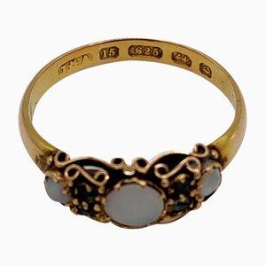 Viktorianischer Ring aus Opalglas und Smaragd in 15 Kt