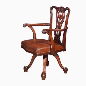 Chaise de Bureau Pivotante Chippendale Antique en Acajou