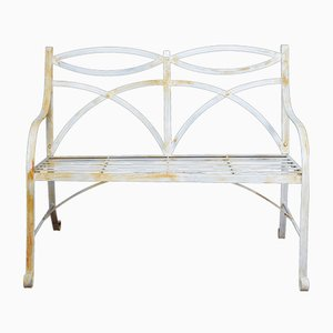 Regency Style White Painted Metal Garden Benches, 1920s, Set of 2