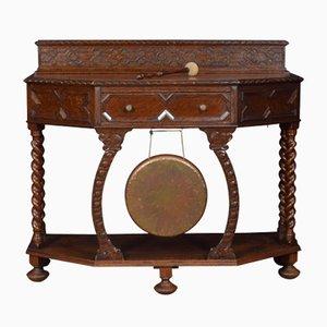 Tavolo da ingresso antico intagliato in quercia