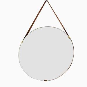 Italienischer Mid-Century Spiegel aus Messing & Leder von ISA Arredamenti, 1950er