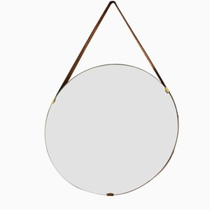 Mid-Century Italian Brass and Leather Mirror by ISA Arredamenti, 1950s