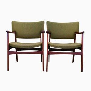 Mid-Century Modell 4205 Armlehnstühle aus Palisander von Ejnar Larsen & Aksel Bender für Fritz Hansen, 2er Set