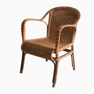 Antique Rattan Lounge Chair, 1920s