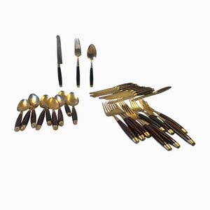 Mid-Century Brass and Teak Cutlery Set by Frigast, 1960s