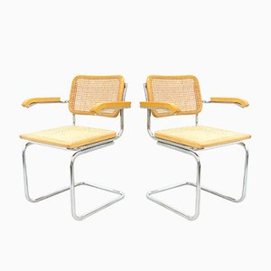 Italian Raffia Wood Side Chairs, 1980s, Set of 2