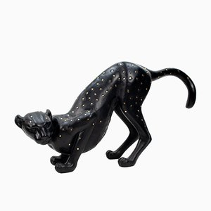 Live Size Black Cheetah Sculpture, 1980s