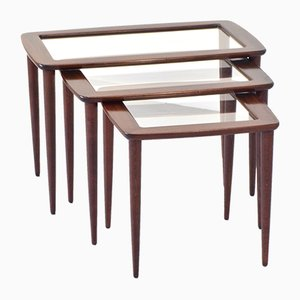 Mid-Century Italian Mahogany and Glass Nesting Tables by Ico Parisi, 1950s