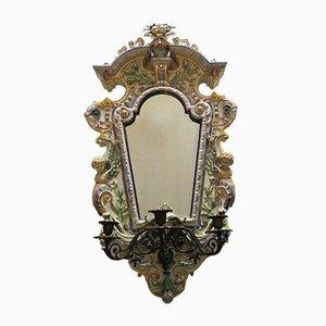 Antiker Angeschrägter Spiegel mit Kerzenhalter von Hugo Lonitz