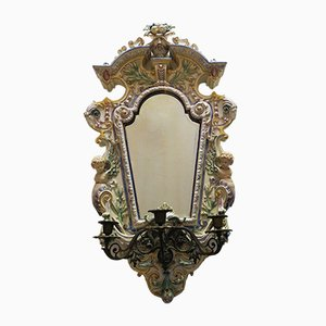 Antique Beveled Mirror with Candleholder from Hugo Lonitz