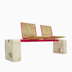 Italian Travertine and Red Metal Bench, 1970s