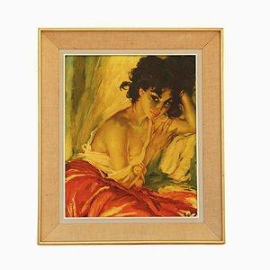 Arte de pared Gypsy Girl Mid-Century de Charles Roka, años 60