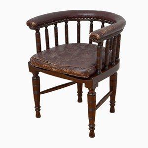 Silla de escritorio eduardiana antigua de caoba maciza