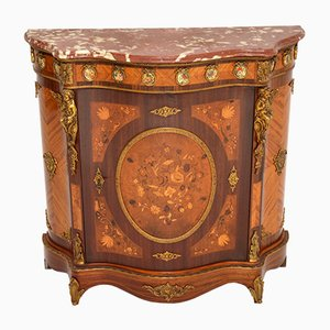 Antique French Inlaid Marquetry, Rosewood, and Marble Top Cabinet, 1930s